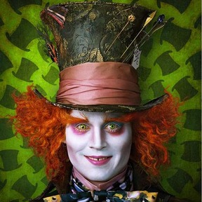 Johmmy Depp as the Mad Hatter