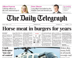 telegraph-front-page-horse-meat-in-burgers