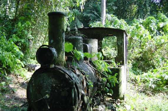 Rusting in the forest, a train bears mute testimony to failure to connect Central and South America