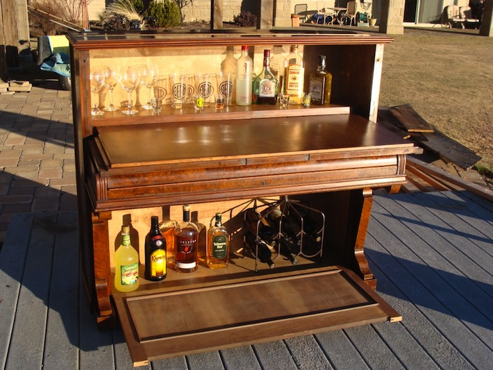 upright pianos repurposed into a bar | just b.CAUSE
