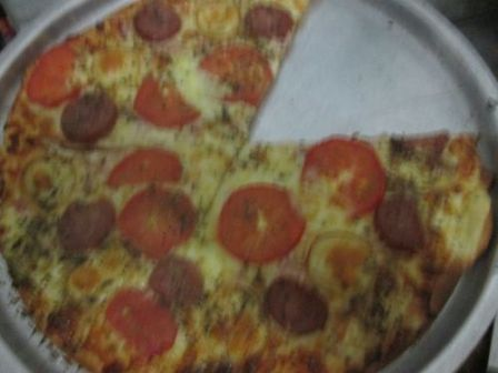 A blurry pizza
